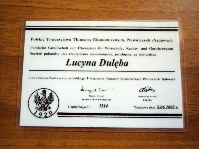 Associazione Polacca dei Traduttori Giurati e Specialistici TEPIS - The Polish Society of Sworn and Specialized Translators TEPIS