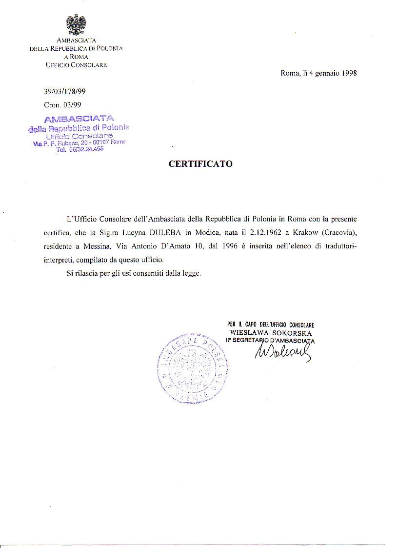 referenza ambasciata